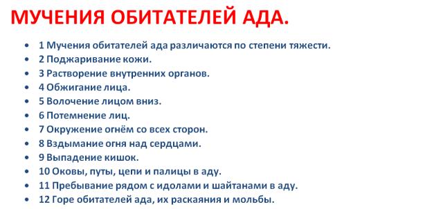 10. МУЧЕНИЯ ОБИТАТЕЛЕЙ АДА.